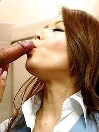 Hot China Mimura sucks a big dick