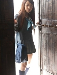 Cocoro Hirahara can´t keep school uniform on her for long