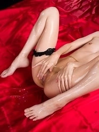 Garter-wearing beauty Ayaka Mikami showing off her perfect-looking slit on cam