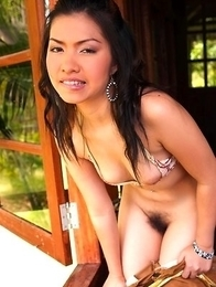Destiny Poonra set on the window, spread her legs and started showing of her pussy.