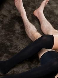Slim seductress Karina Oshima helps this dude rub that cock against her bush