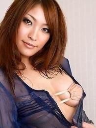 Rika Hoshimi with oiled body has big boobs in tight bra