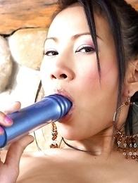 Busty Asian Nancy Ho masturbate with dildo