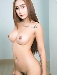 Busty Oriental cute  Hannah spreds pussy