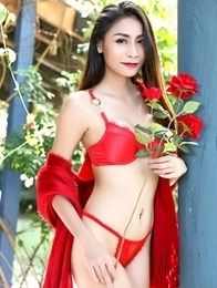 Long legs Asian Sophia in sexy red lingerie