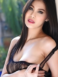 Hot brunette Natalie Wang in black lingerie