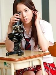 Nanami Kuroki in sexy school uniform is naughty in class