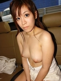 Yuri Rie gives blowjob in the car and shows